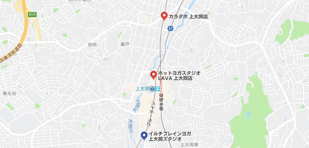上大岡駅周辺のヨガスタジオマップ