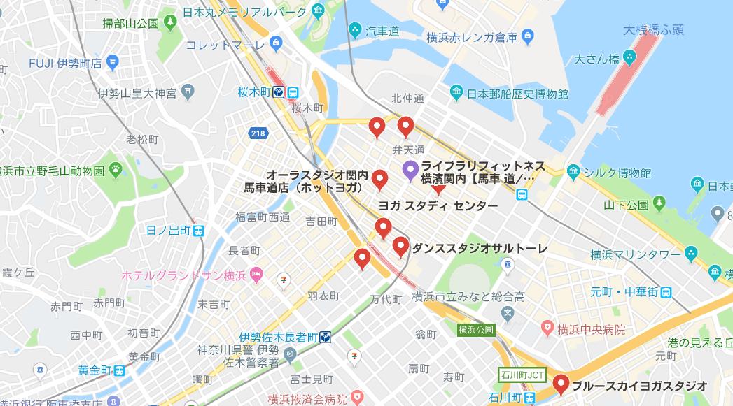 関内のヨガマップ検索結果