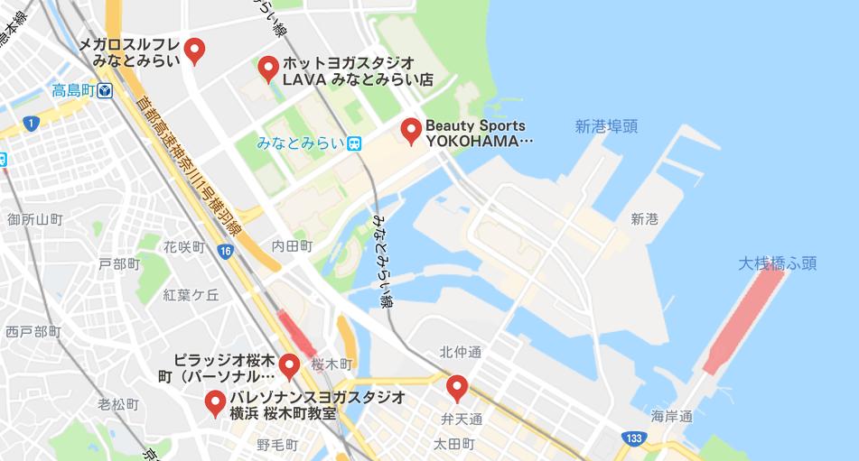 みなとみらいのヨガマップ検索結果