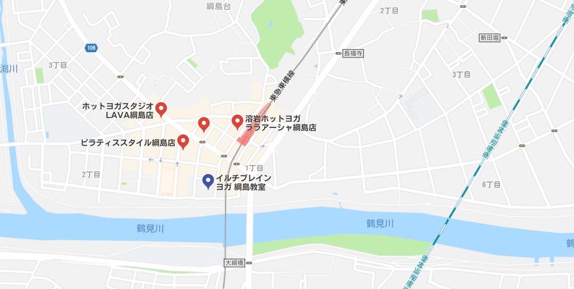 綱島駅近くのヨガマップ