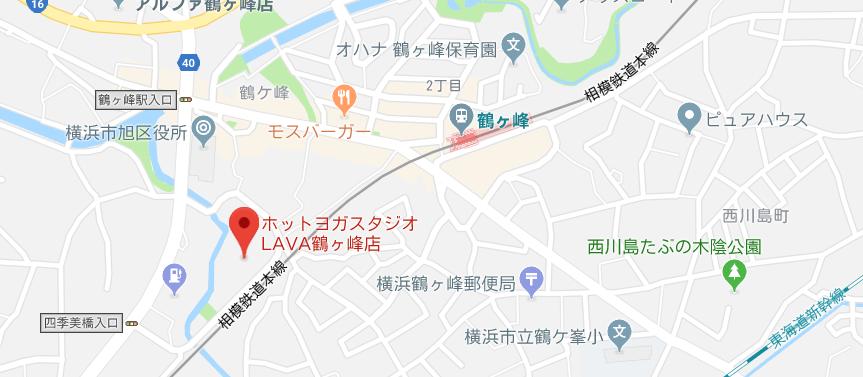 鶴ヶ峰駅近くのヨガ地図検索結果キャプチャ画像