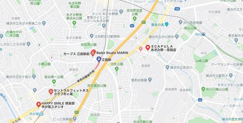 江田駅周辺のヨガマップ