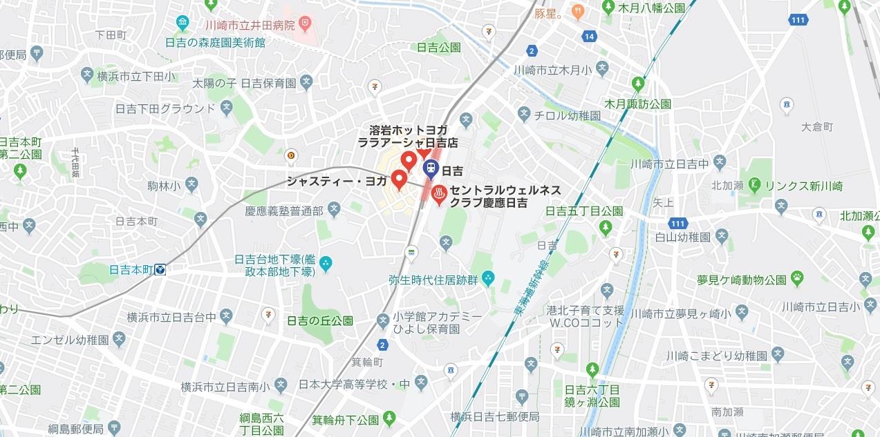 日吉のヨガスタジオ、マップ検索結果