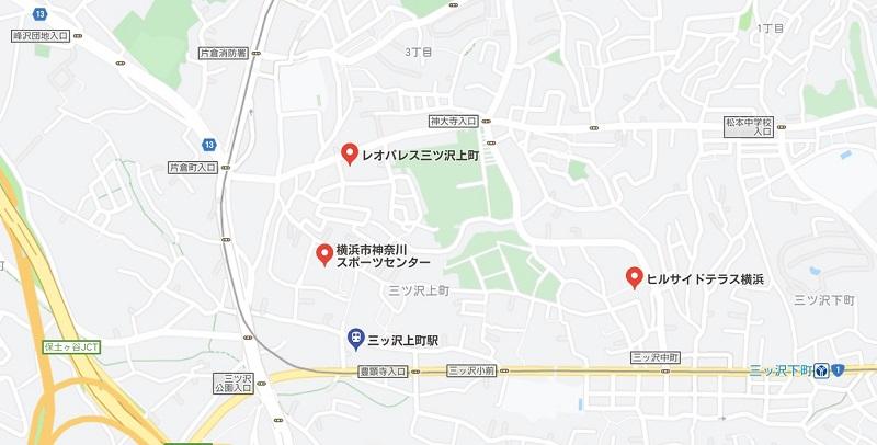 三ッ沢上町駅周辺のヨガマップ