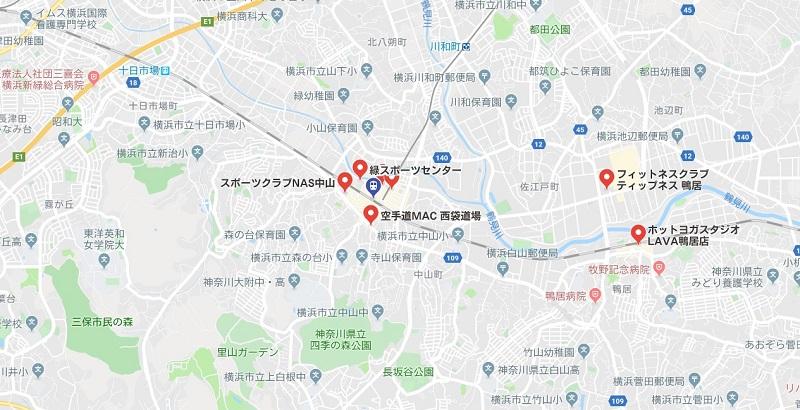 中山駅周辺のヨガスタジオ、グーグル検索結果キャプチャ