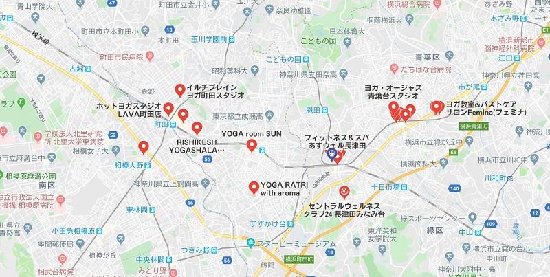 長津田駅周辺のヨガスタジオ、マップ検索