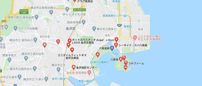 八景島駅周辺のヨガマップ