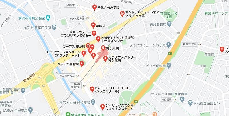 市が尾のヨガスタジオマップ検索結果