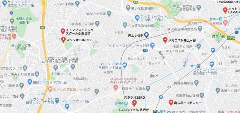 井土ヶ谷駅周辺のヨガマップ