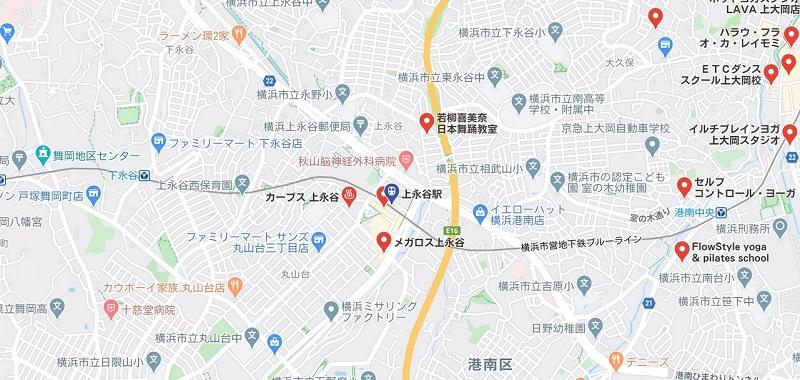 上永谷のヨガスタジオマップ