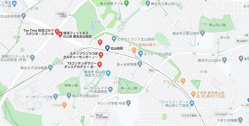 北山田駅周辺のヨガスタジオマップ