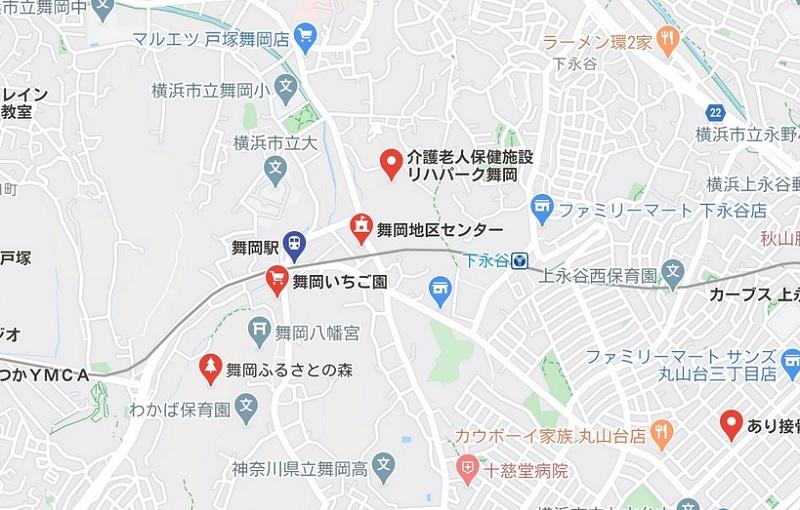 舞岡駅周辺のヨガ グーグルマップ検索結果