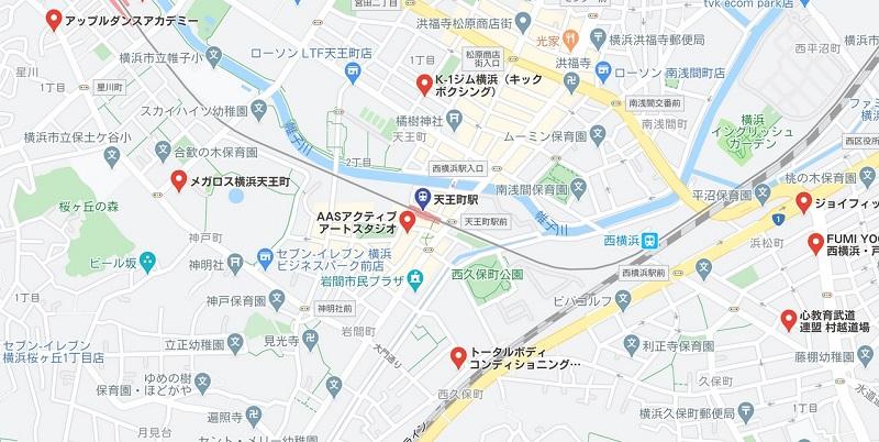 天王町駅周辺のヨガ マップ検索結果