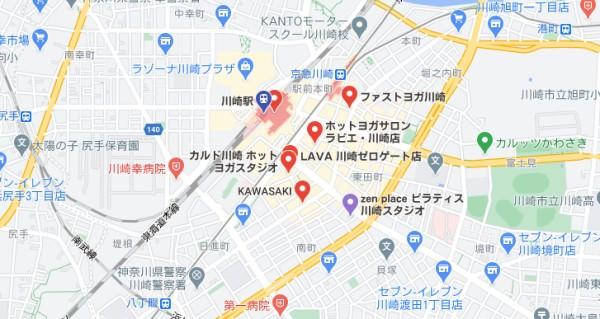 川崎駅周辺のヨガマップ